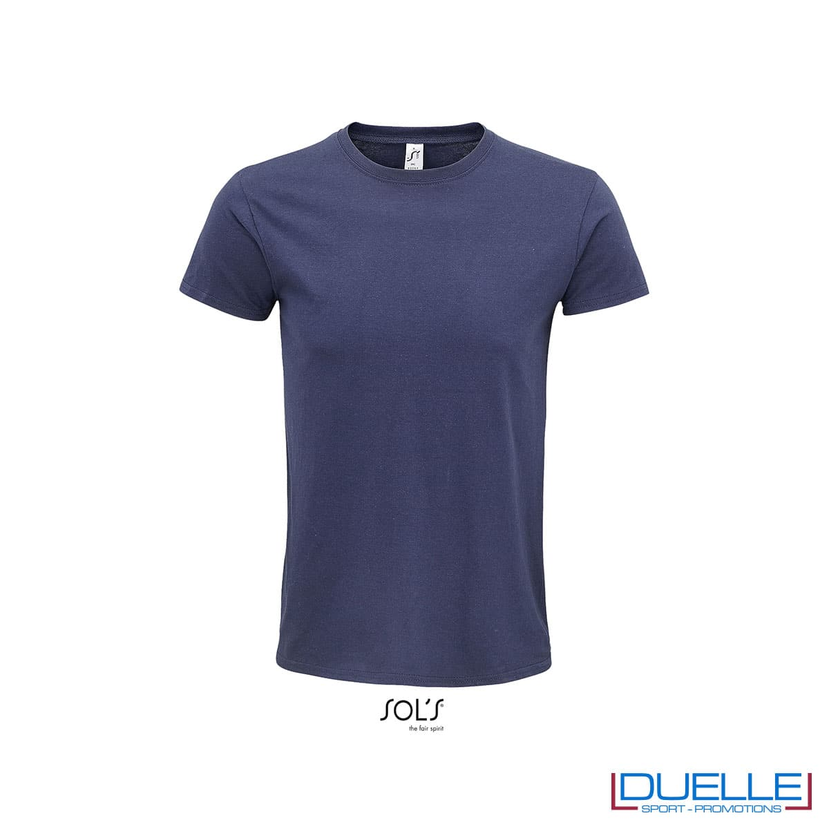 T-shirt ecosostenibile in cotone biologico colore blu personalizzata