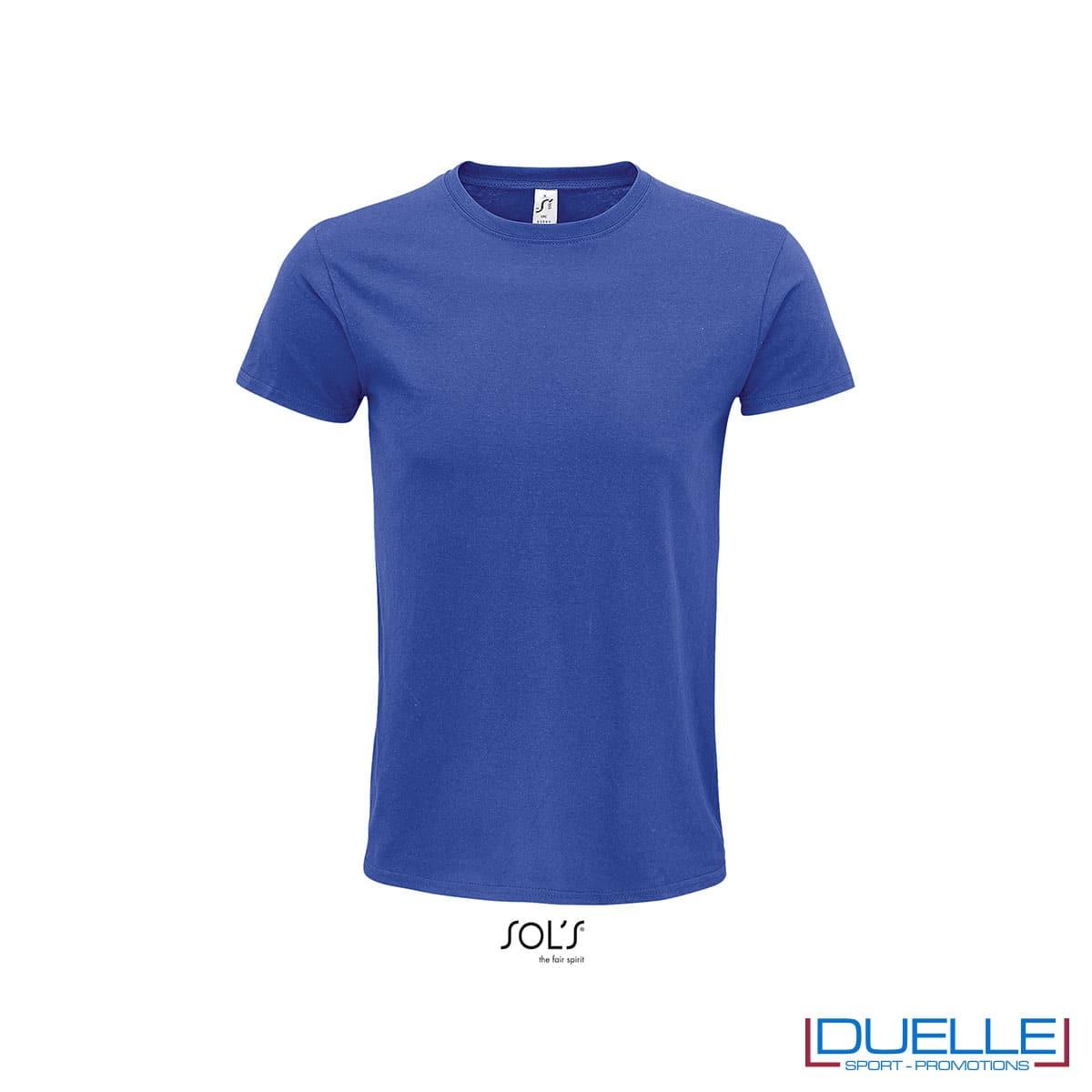 T-shirt ecosostenibile in cotone biologico colore blu royal personalizzata