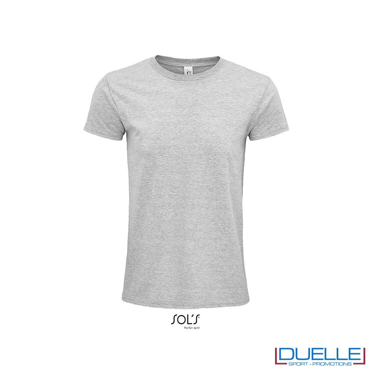 T-shirt ecosostenibile in cotone biologico colore grigio melange personalizzata