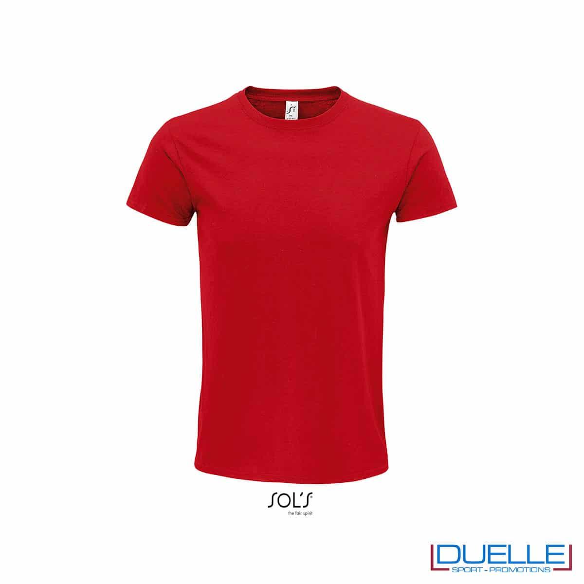 T-shirt ecosostenibile in cotone biologico colore rosso personalizzata