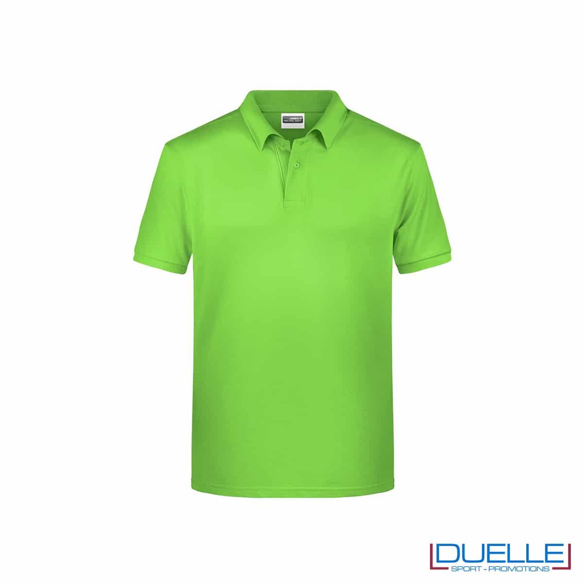 Polo ecologica 100% cotone organico colore verde lime