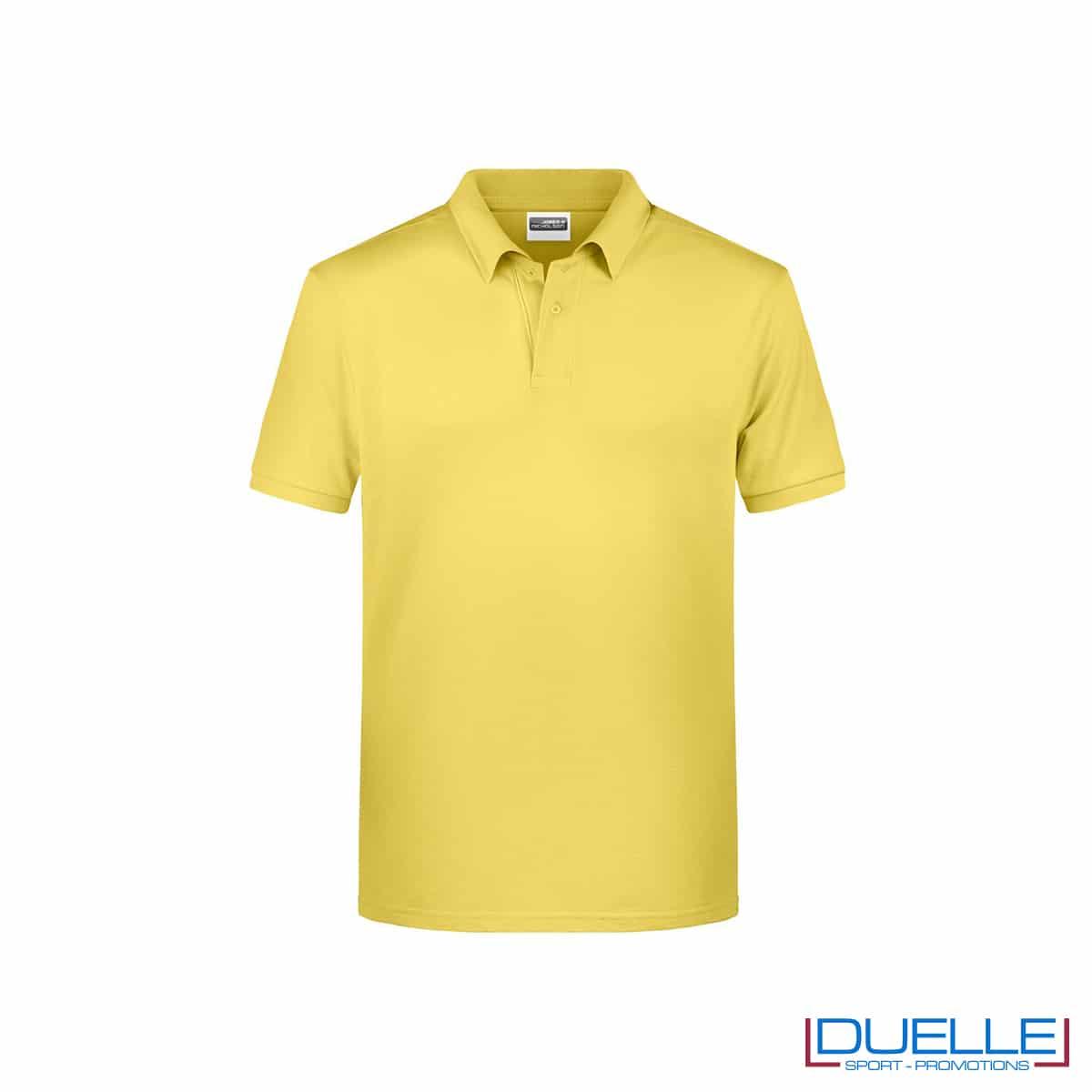 Polo ecologica 100% cotone organico colore giallo chiaro