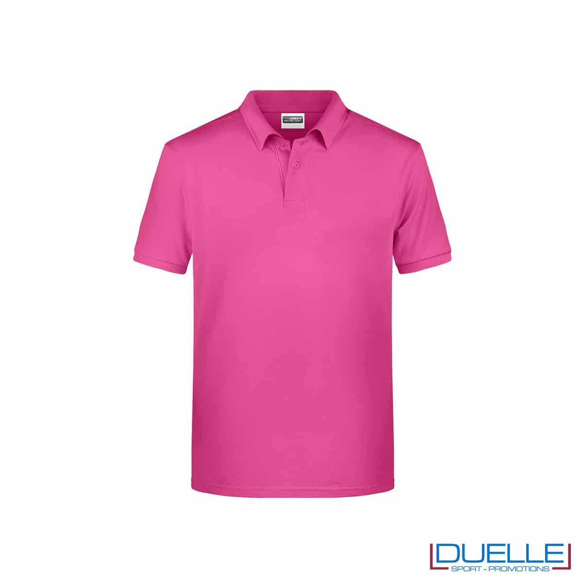 Polo ecologica 100% cotone organico colore rosa