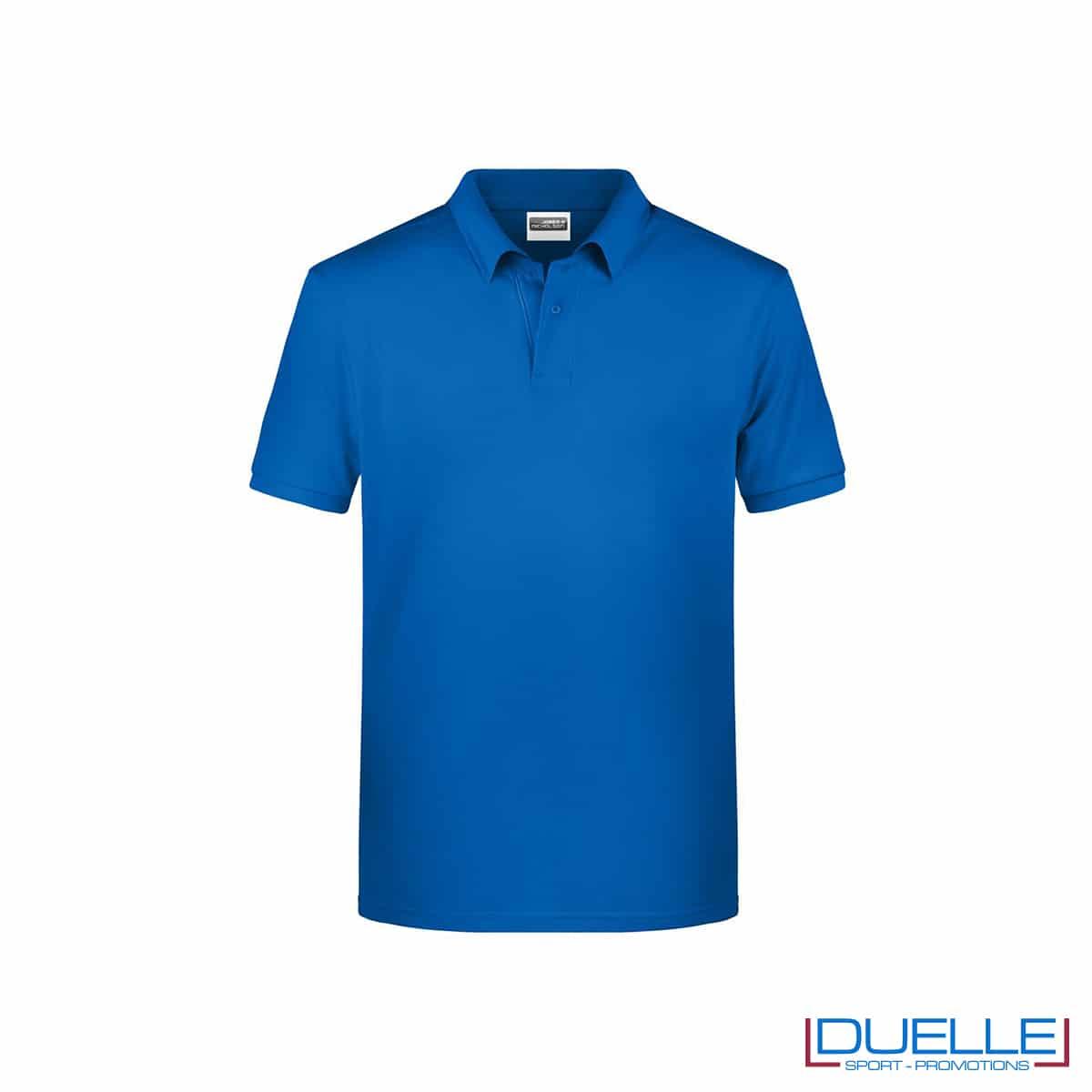 Polo ecologica 100% cotone organico colore blu royal