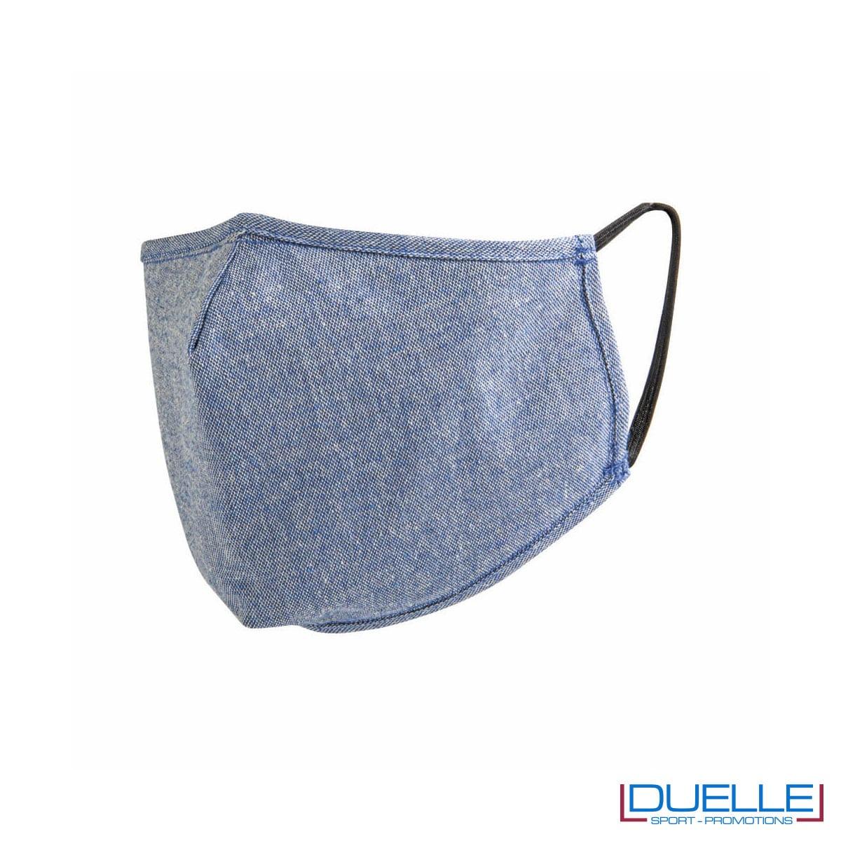 Mascherina protettiva triplo strato lavabile in cotone riciclato colore blu