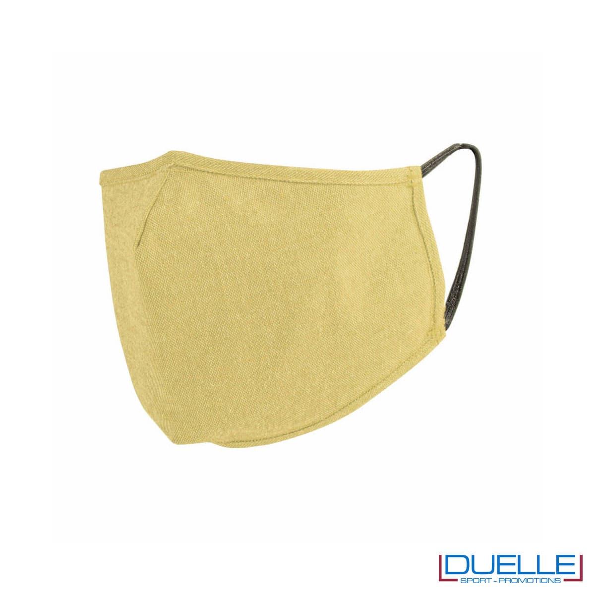 Mascherina protettiva triplo strato lavabile in cotone riciclato colore giallo