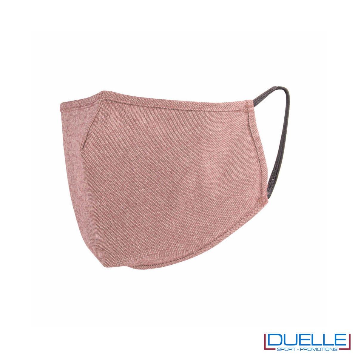 Mascherina protettiva triplo strato lavabile in cotone riciclato colore rosa
