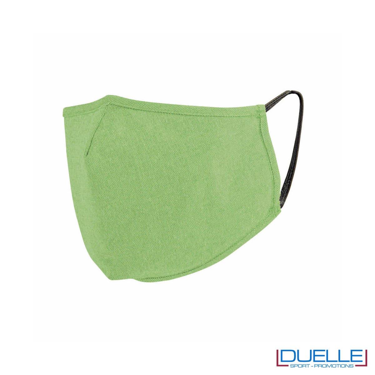 Mascherina protettiva triplo strato lavabile in cotone riciclato colore verde
