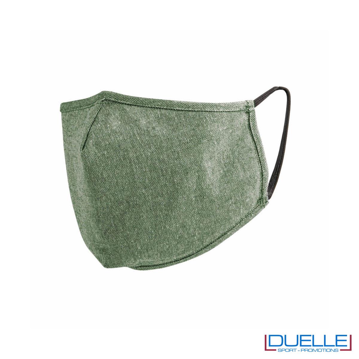 Mascherina protettiva triplo strato lavabile in cotone riciclato colore verde scuro