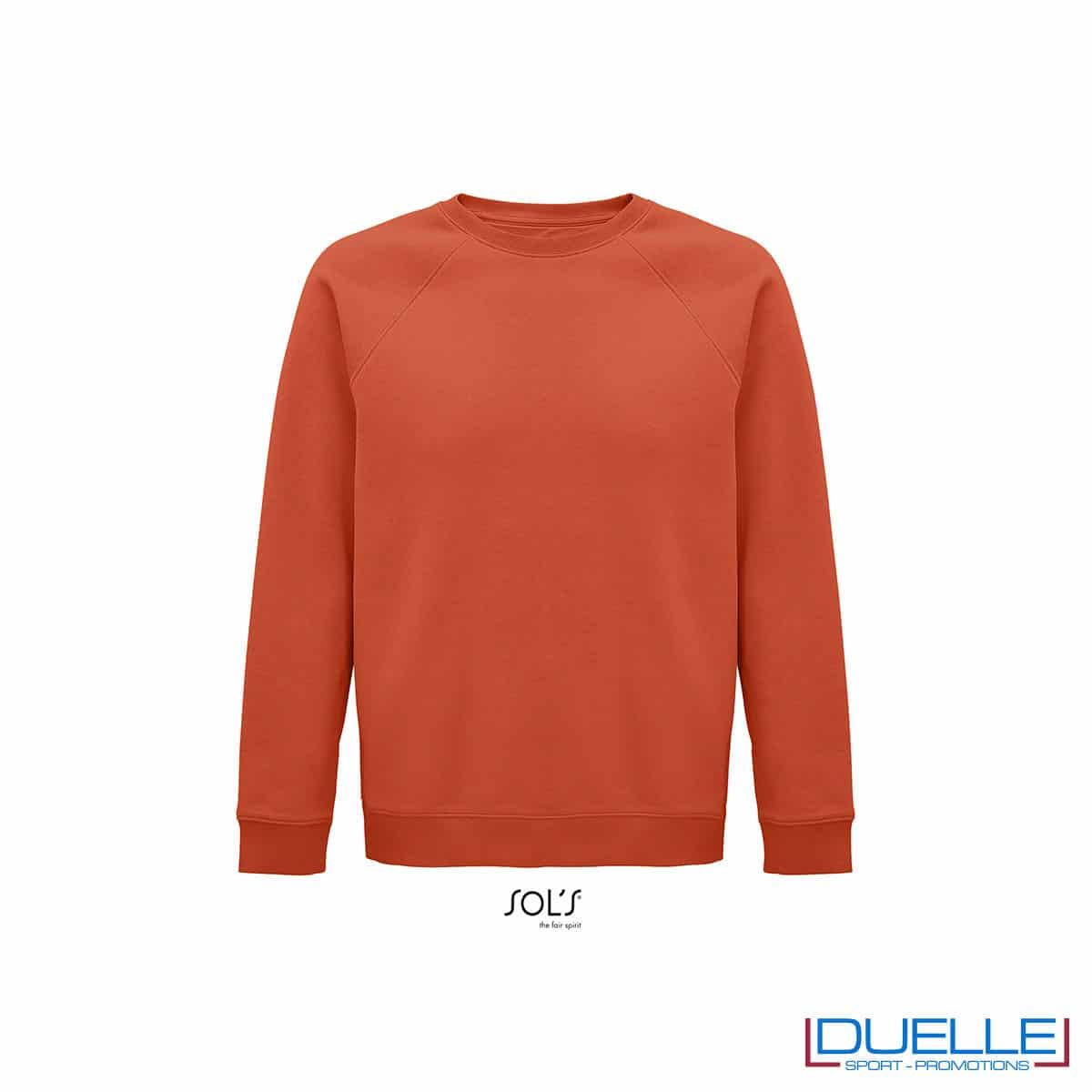 Felpa girocollo in cotone biologico colore arancione personalizzata
