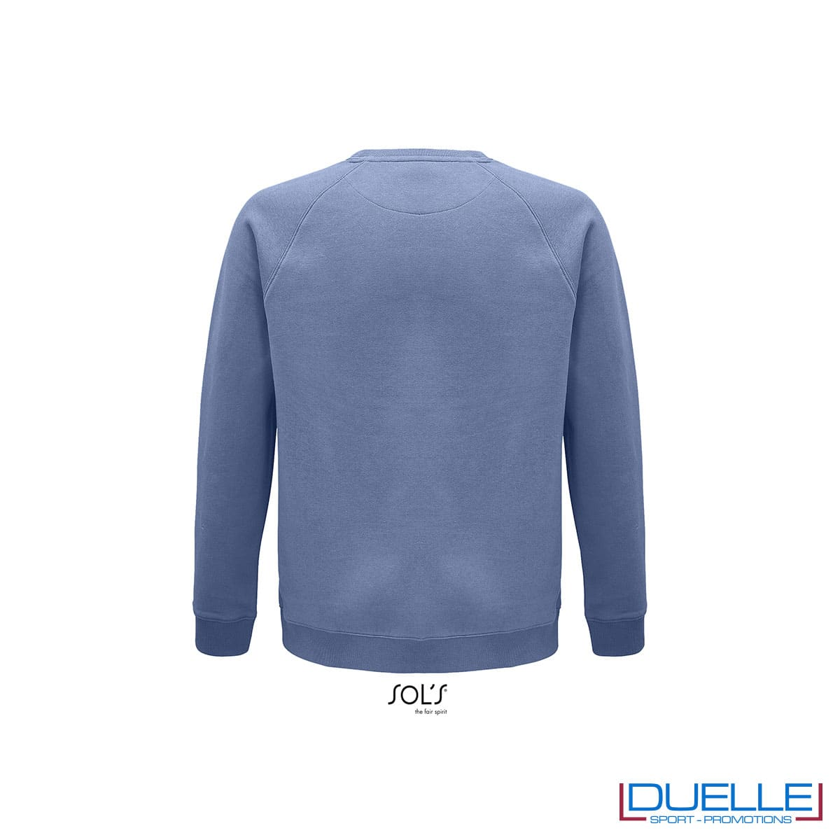 Retro felpa girocollo in cotone biologico colore blu personalizzata