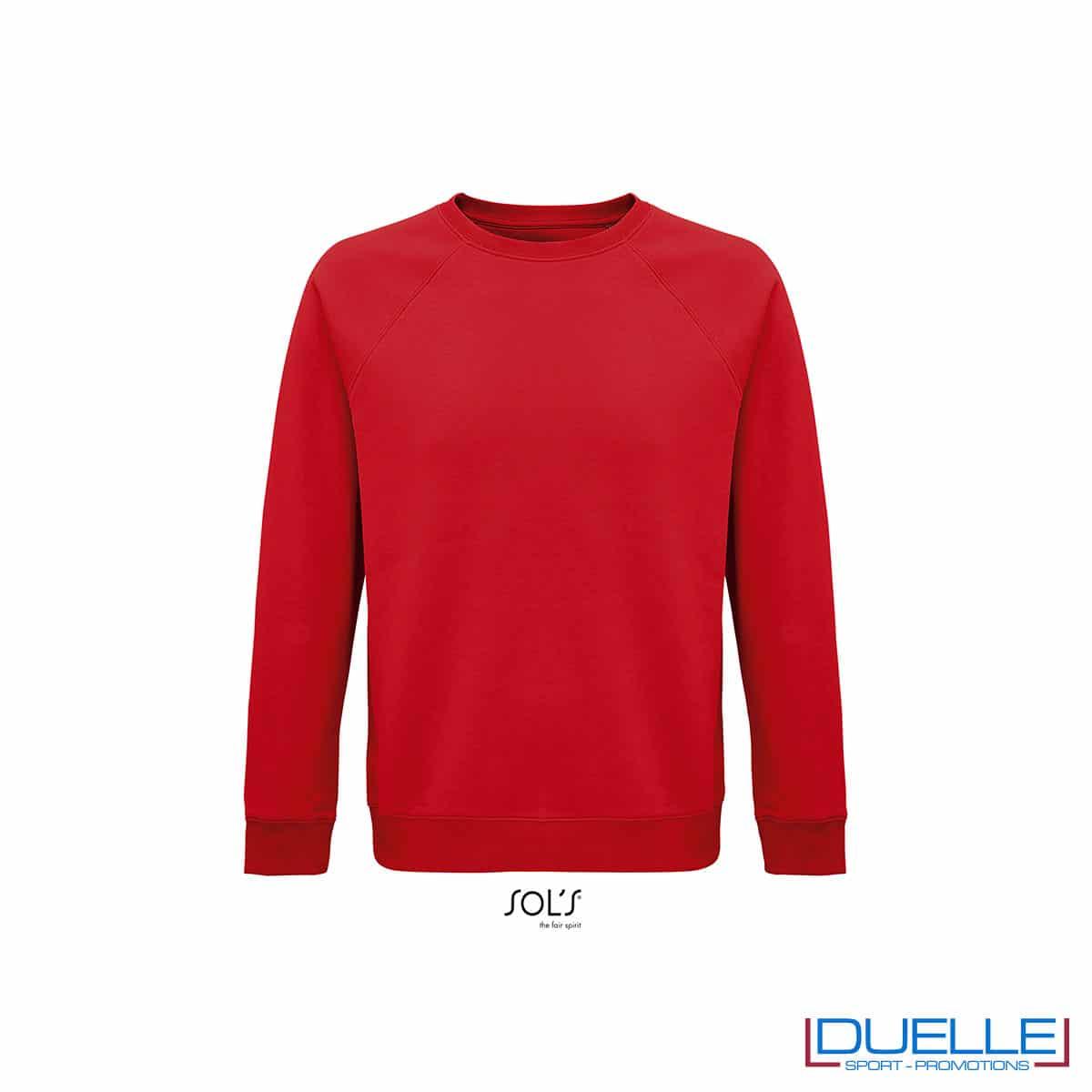 Felpa girocollo in cotone biologico colore rosso personalizzata