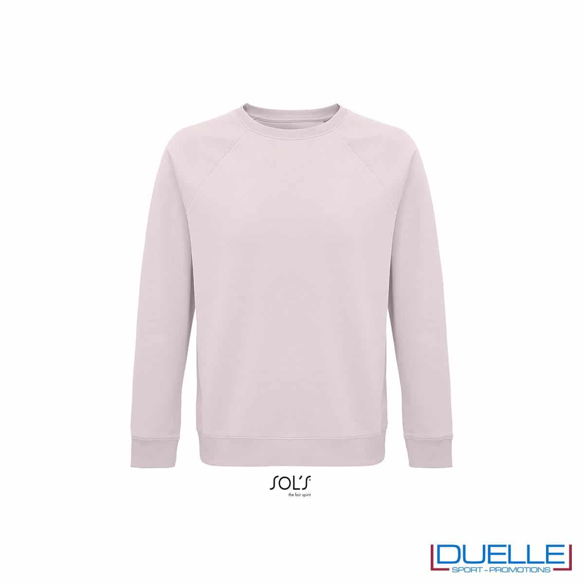 Felpa girocollo in cotone biologico colore rosa pallido personalizzata