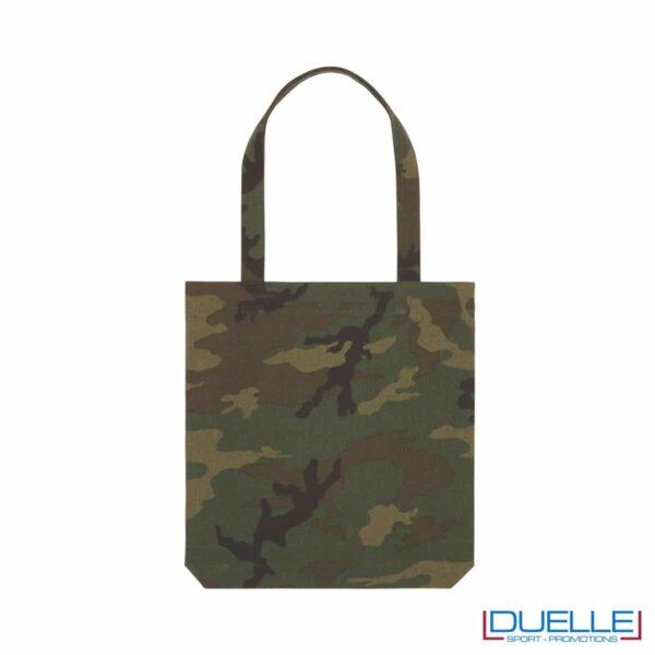 Shopper in cotone riciclato e R-PET camouflage personalizzato