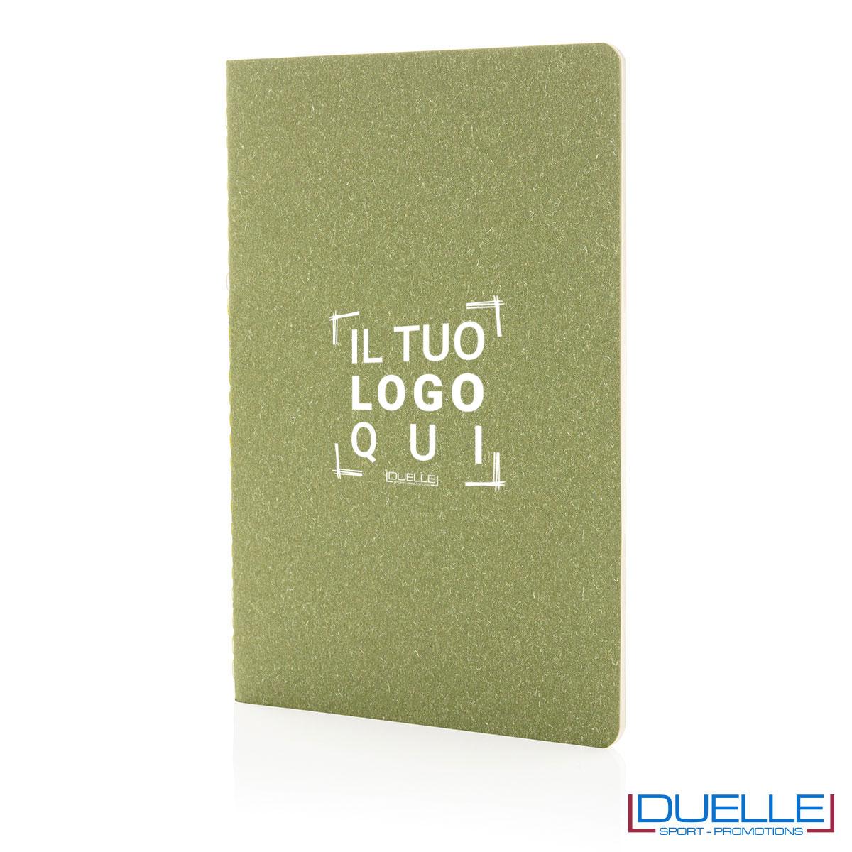 Blocco per appunti A5 slim con copertina flessibile con il tuo logo - verde