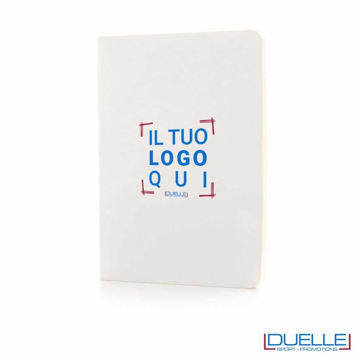 Taccuino flessibile con segnapagina - bianco personalizzato
