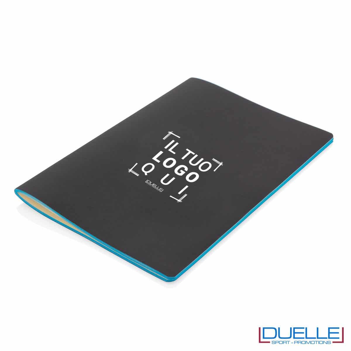 Block notes flessibile con bordo azzurro personalizzato con stampa a colori