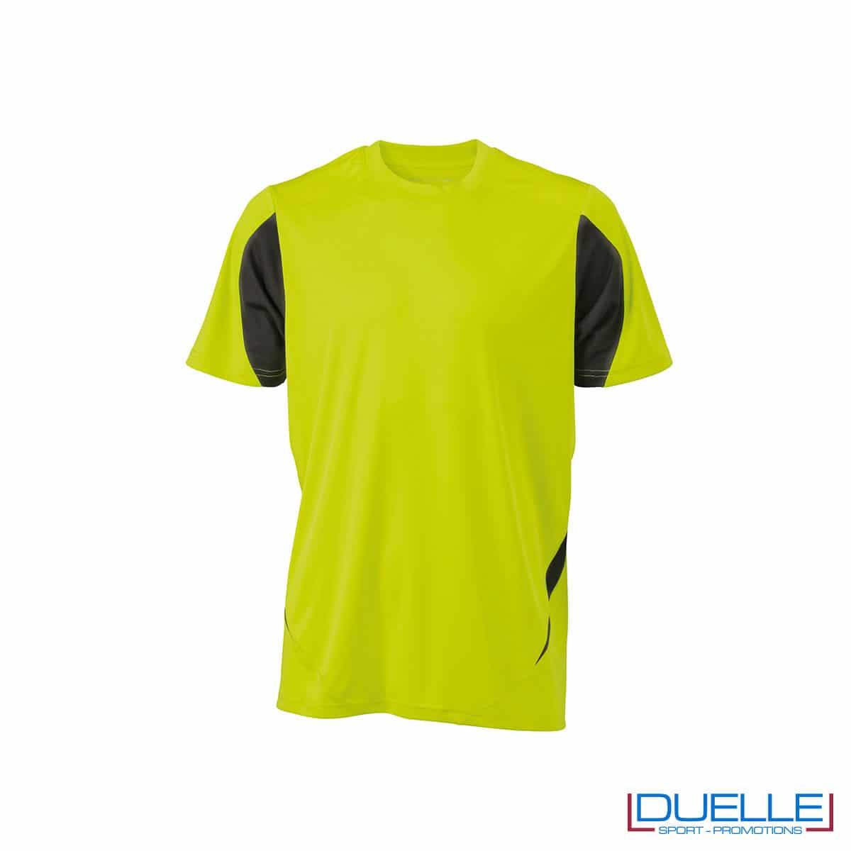 Maglia calcio colore giallo fluo-antracite promozionale