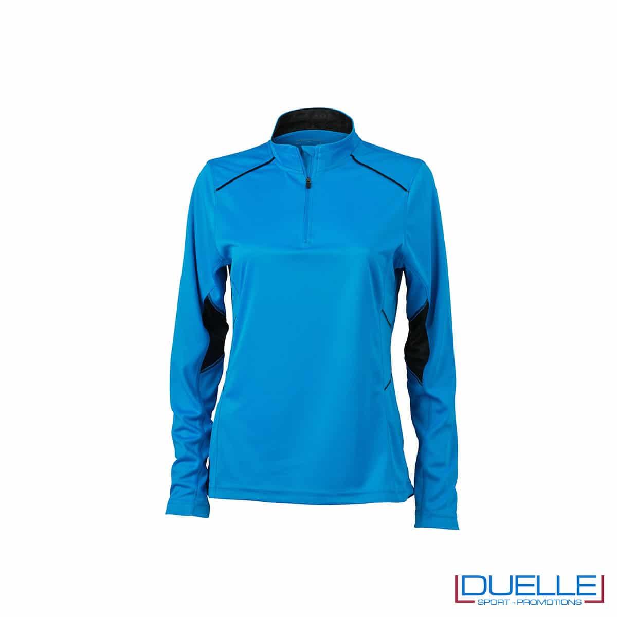 Maglia running con zip donna colore azzurro personalizzata