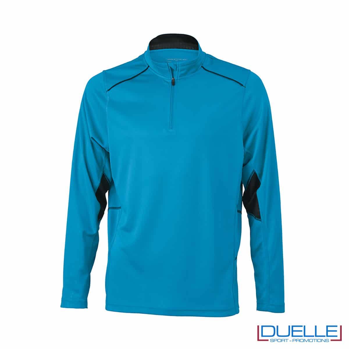 Maglia running con zip uomo colore azzurro personalizzata