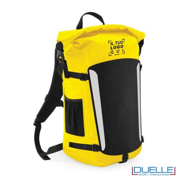 Zaino impermeabile in PVC colore giallo personalizzato con il tuo logo