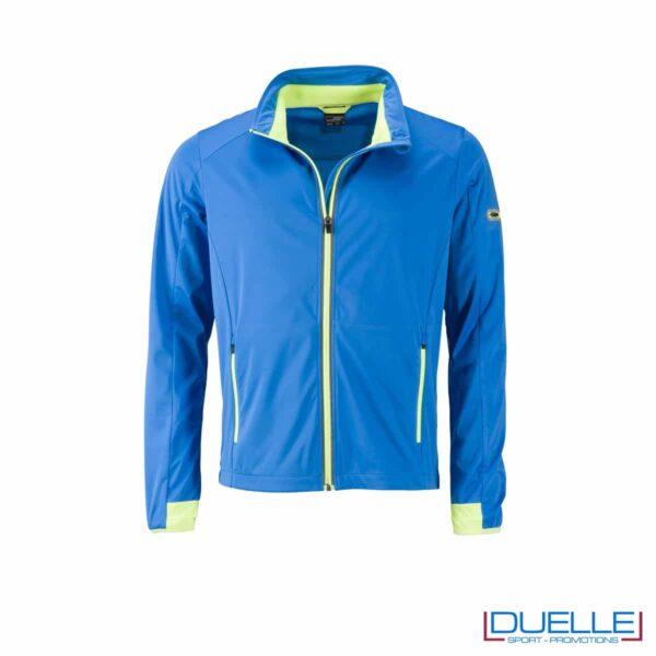 Giacca softshell traspirante colore blu promozionale