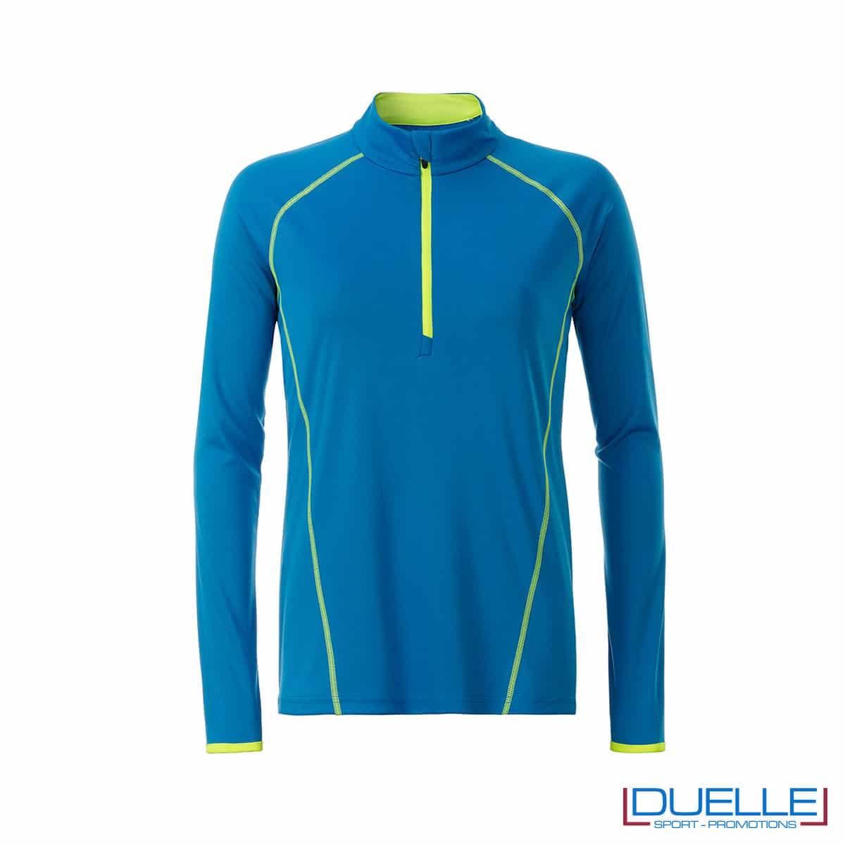 t shirt manica lunga donna colore blu chiaro personalizzata