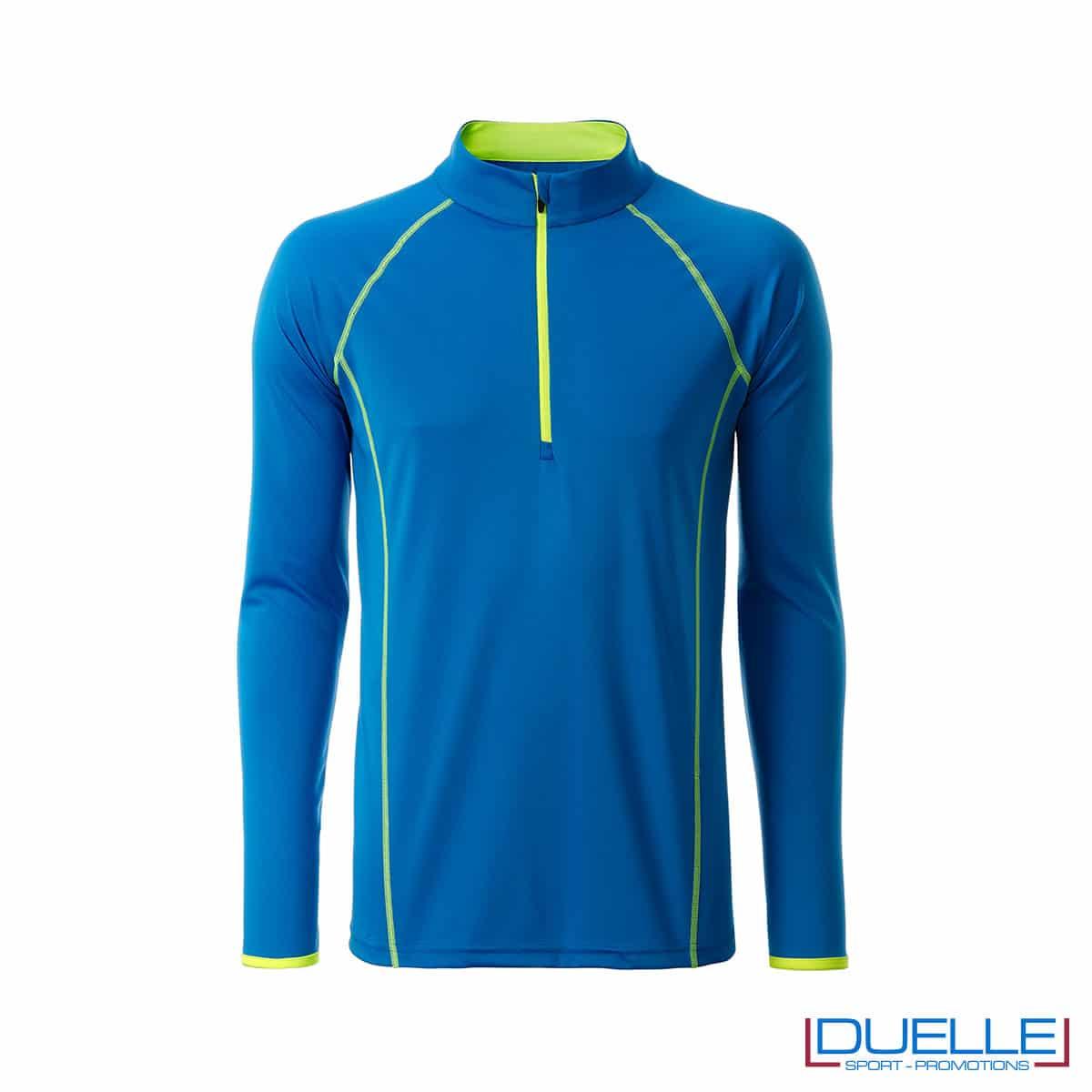 T-shirt manica lunga con zip colore blu personalizzata