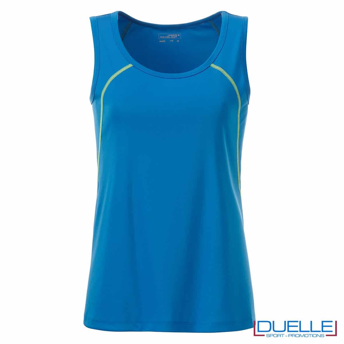 Canottiera fitness blu donna