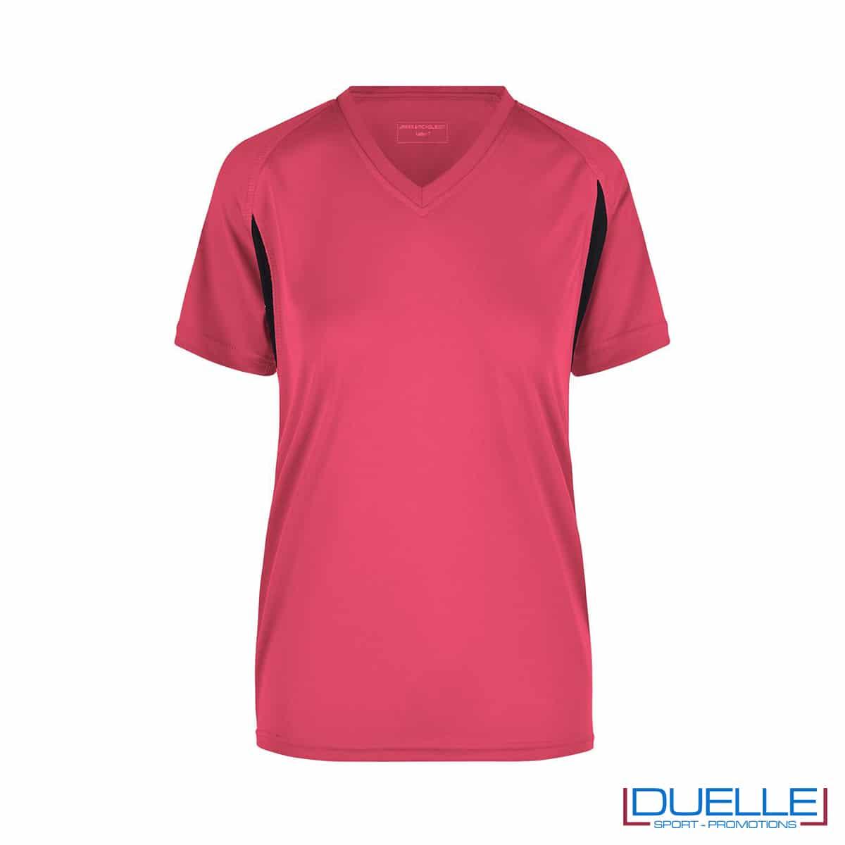 T-shirt running donna personalizzata colore rosa-nero