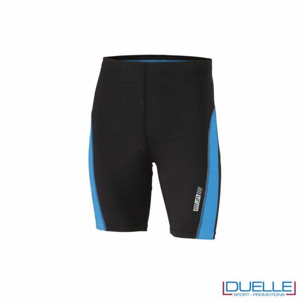 Pantaloncini running personalizzati colore nero/azzurro