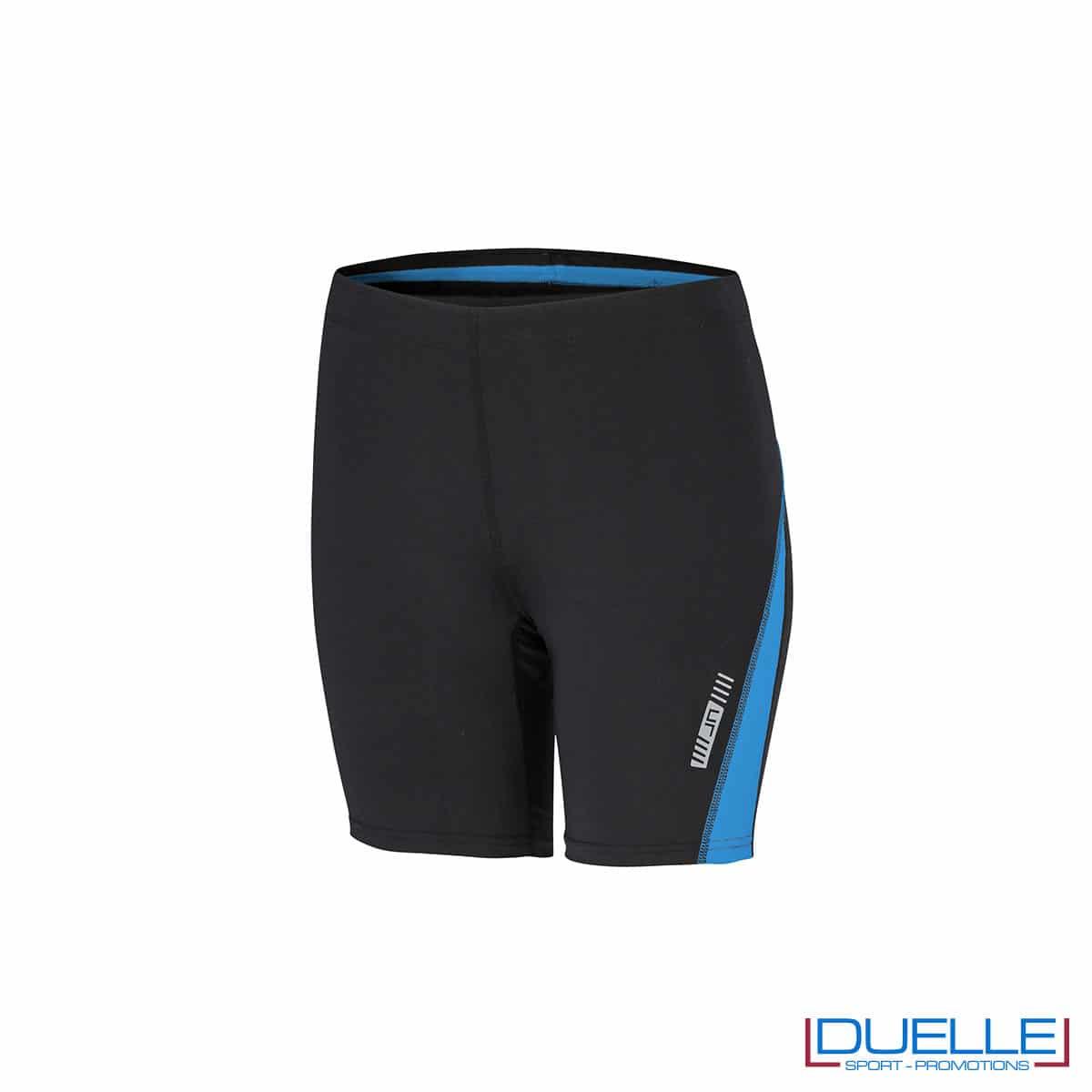 Pantaloncini running donna personalizzati colore nero/azzurro