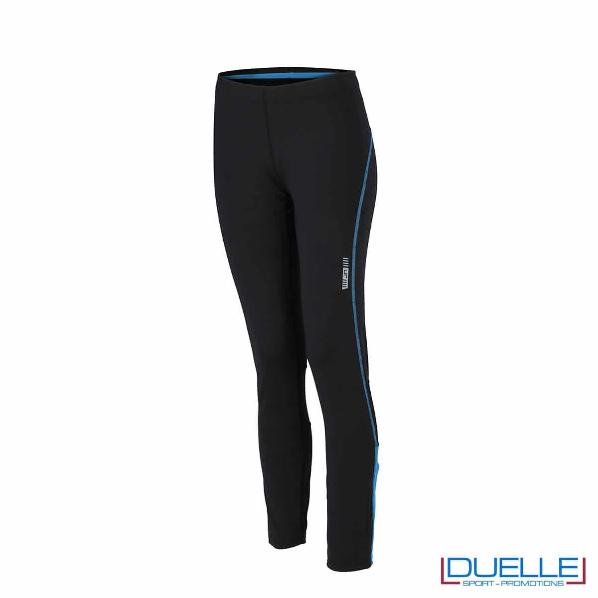 Pantaloni corsa donna nero/azzurro personalizzati