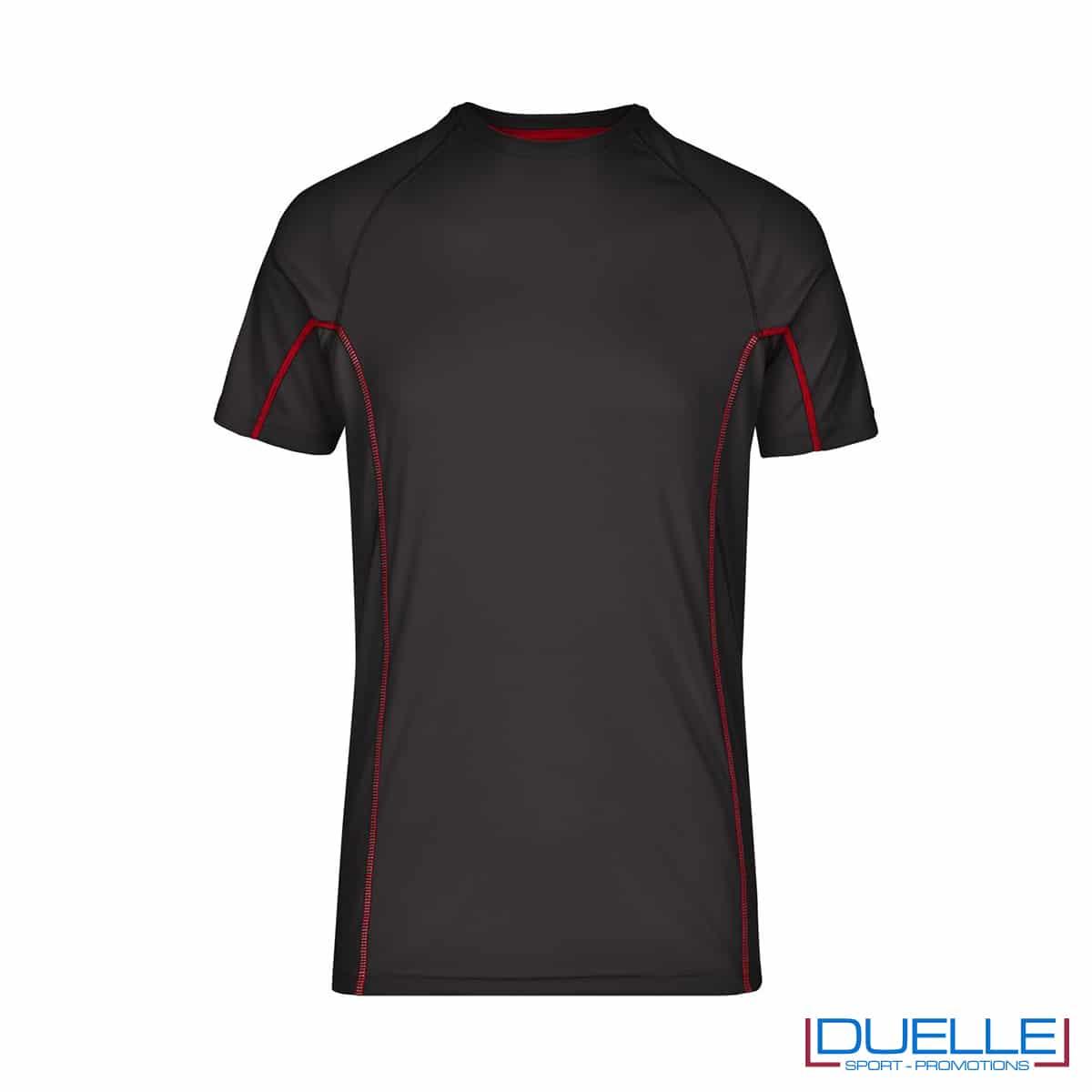 Maglia running Coolmax uomo colore nero/rosso personalizzata