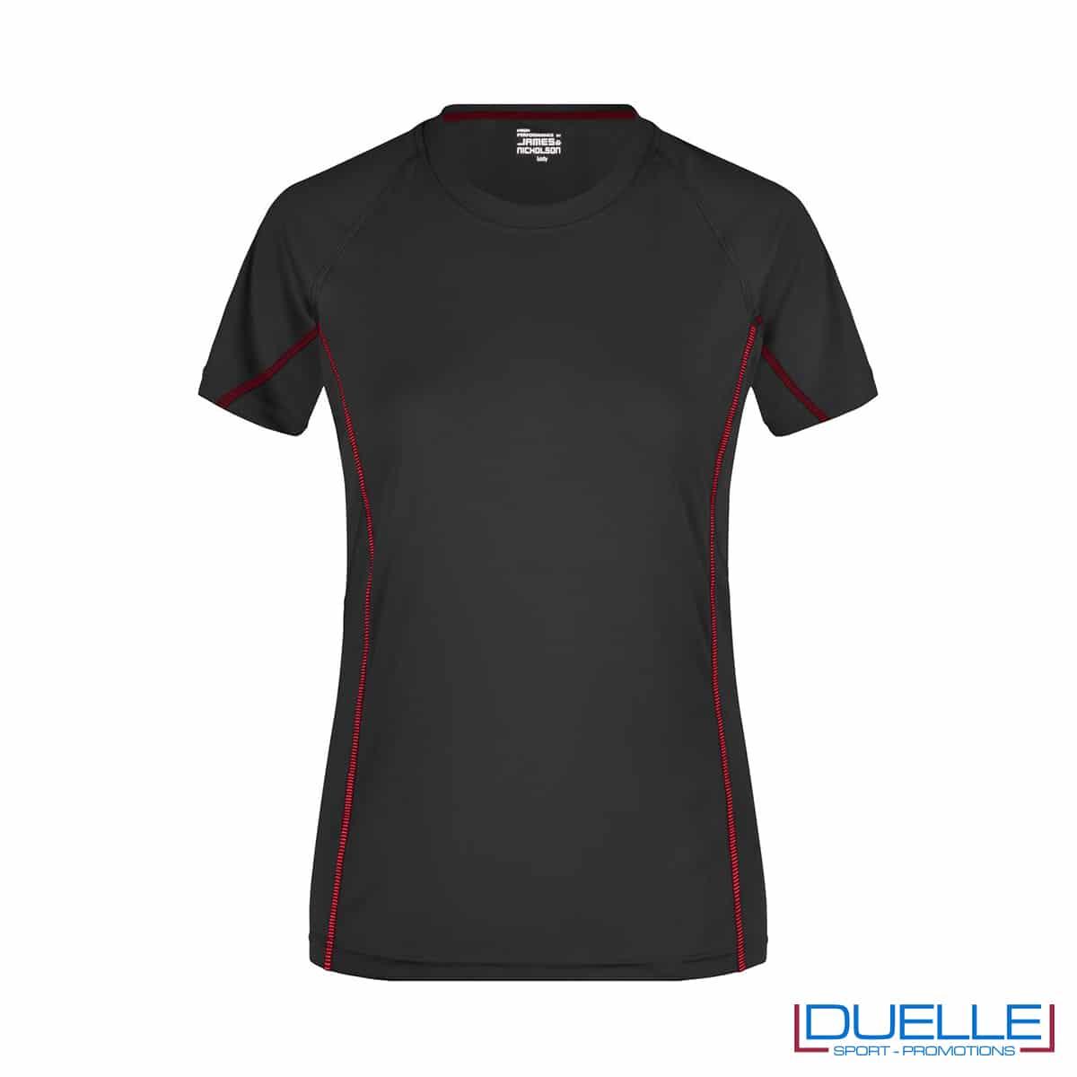 Maglia running Coolmax donna colore nero/rosso personalizzata