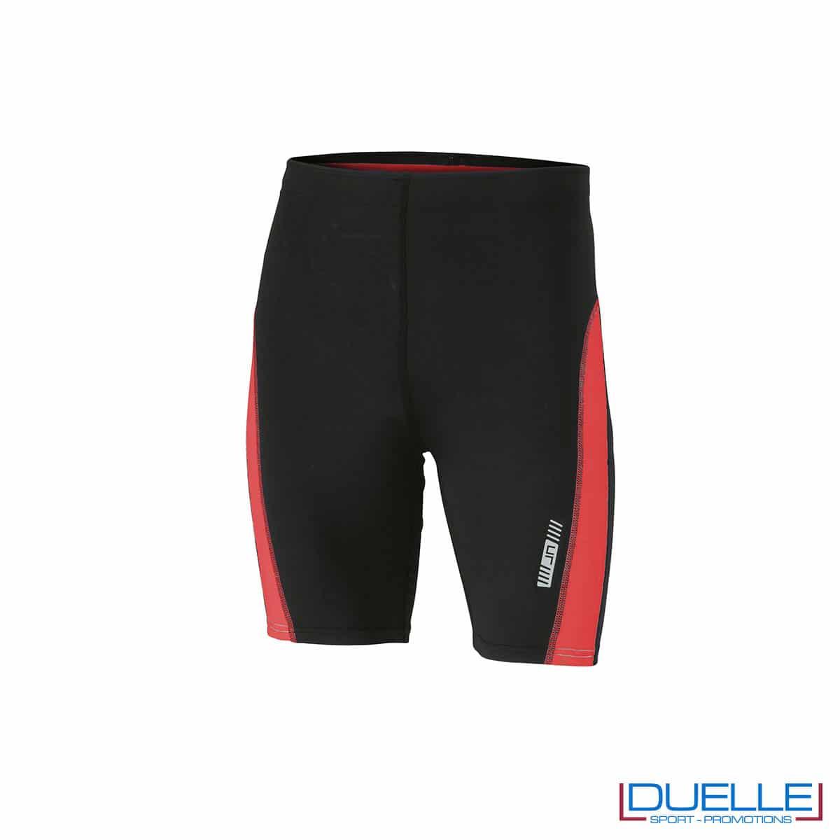 Pantaloncini running personalizzati colore nero/rosso