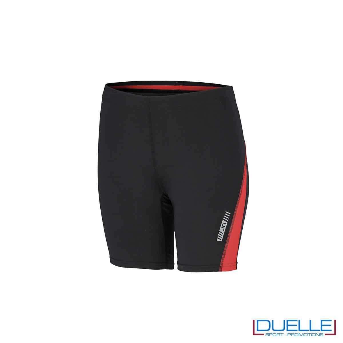 Pantaloncini running donna personalizzati colore nero/rosso