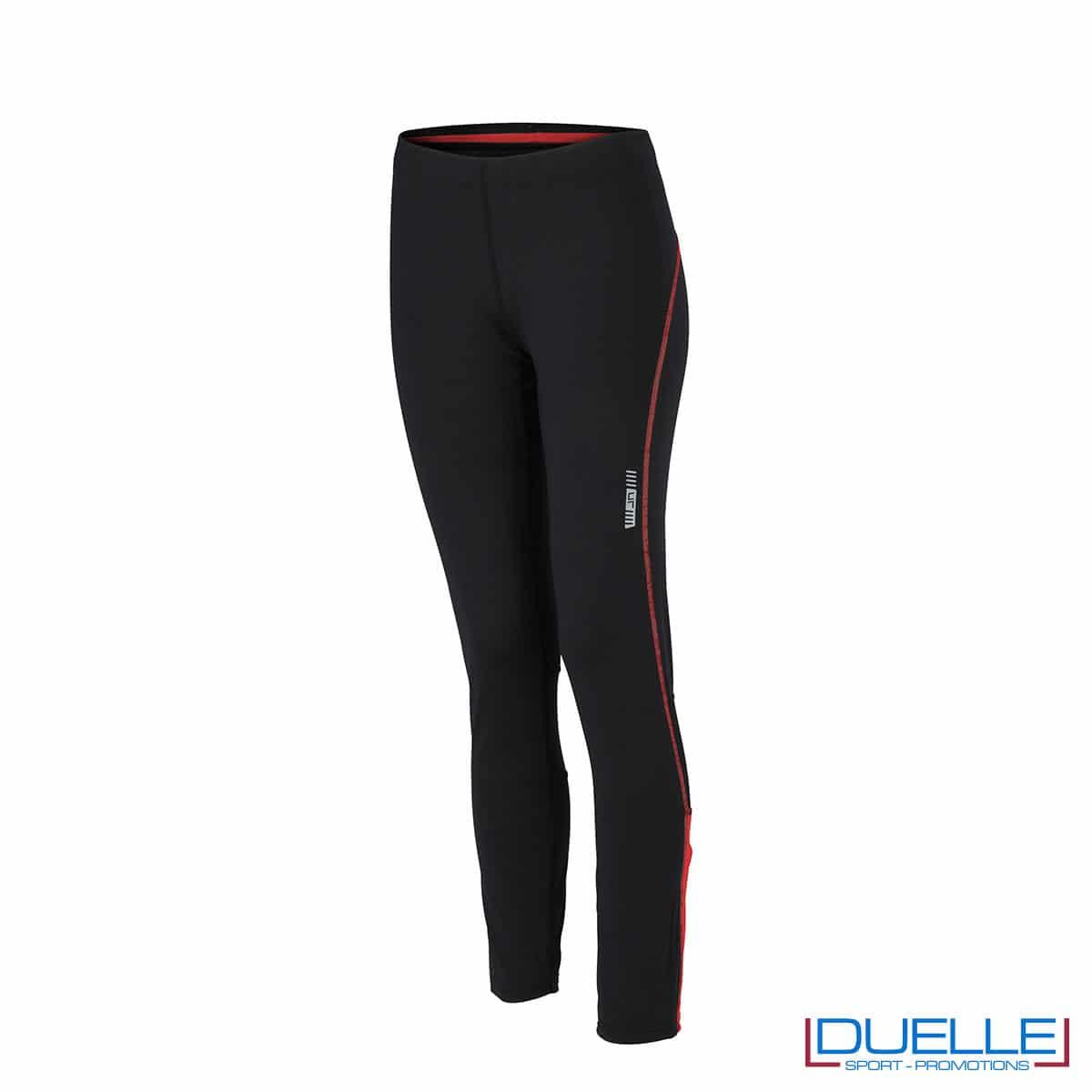 Pantaloni corsa donna nero/rosso personalizzati