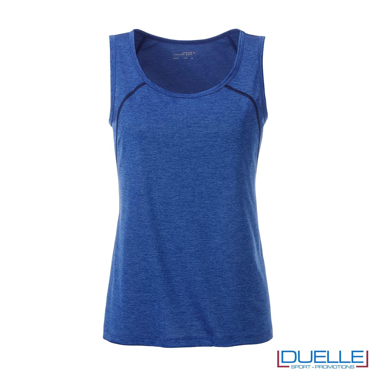 Canotta donna sport traspirante colore blu melange
