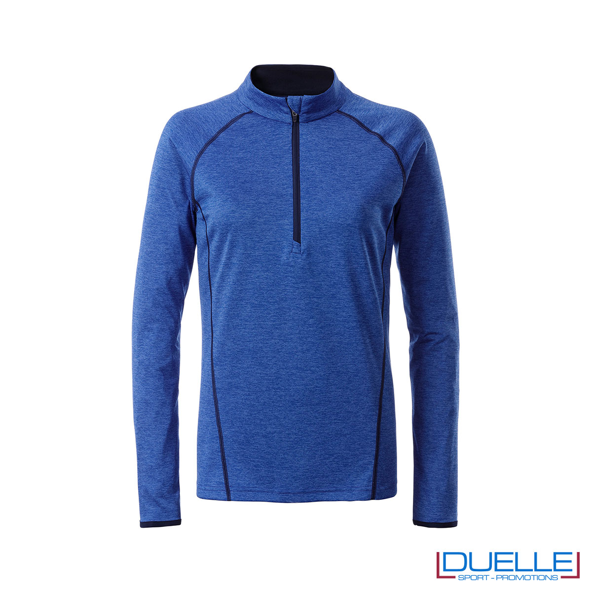 t shirt manica lunga donna colore blu melange personalizzata
