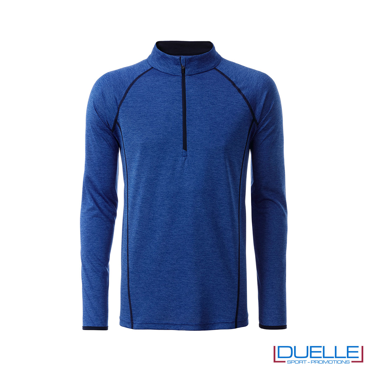 T-shirt manica lunga con zip colore blu melange personalizzata