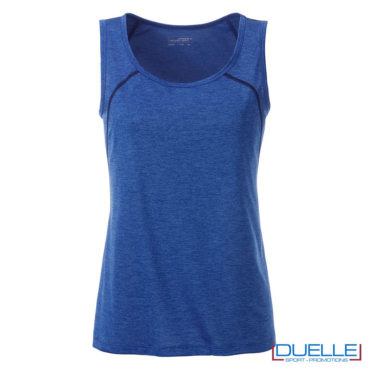 Canottiera blu melange donna per sport