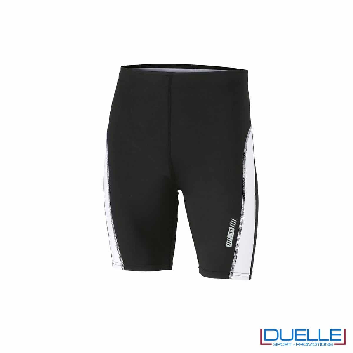 Pantaloncini running personalizzati colore nero/bianco