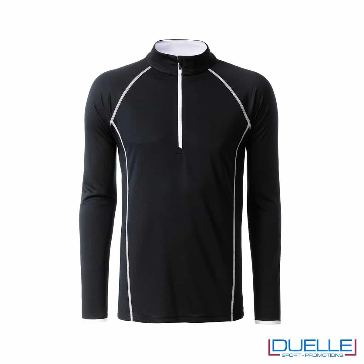 T-shirt manica lunga con zip colore nero personalizzata