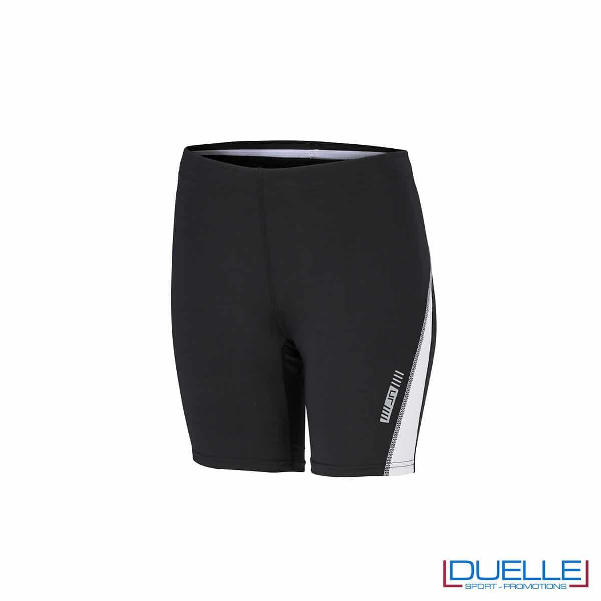 Pantaloncini running donna personalizzati colore nero/bianco
