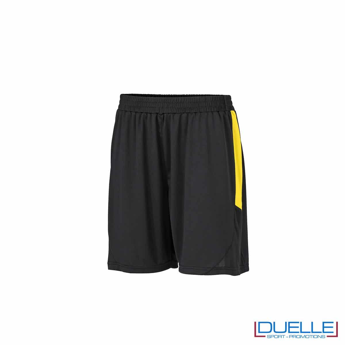 Pantaloncini calcio colore nero-giallo personalizzati