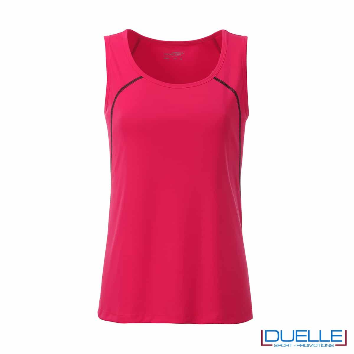 Canotta donna sport traspirante colore rosa