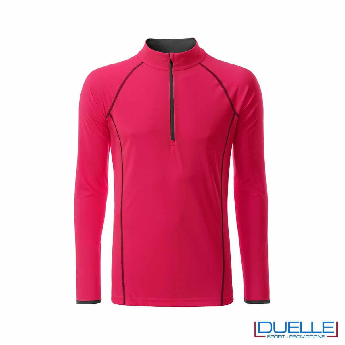 T-shirt manica lunga con zip colore rosa acceso personalizzata