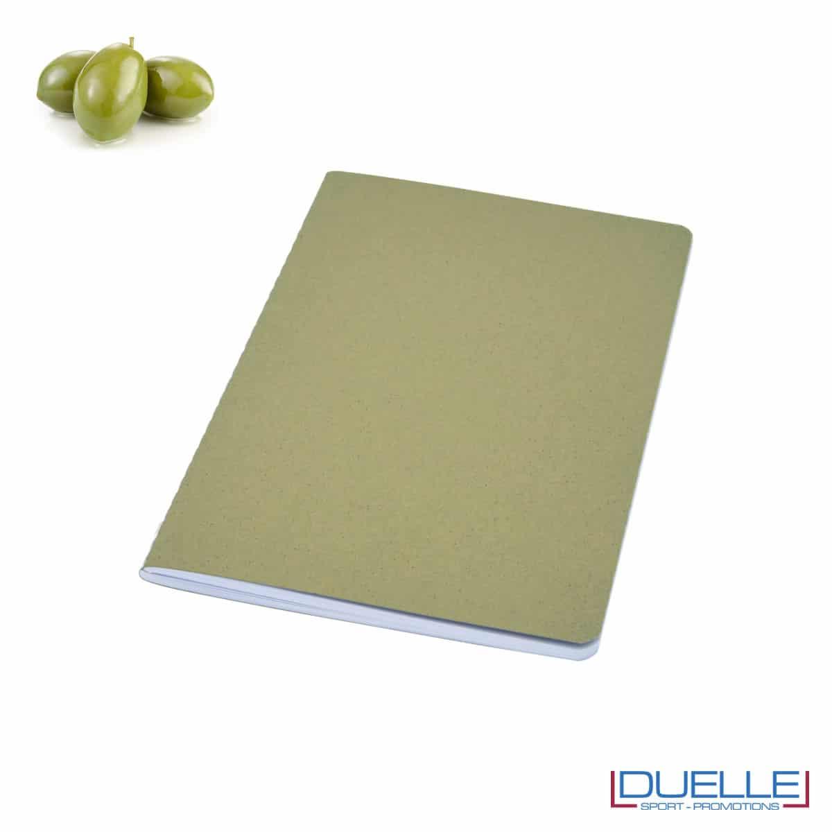 Quaderno carta riciclata con residui della lavorazione delle olive