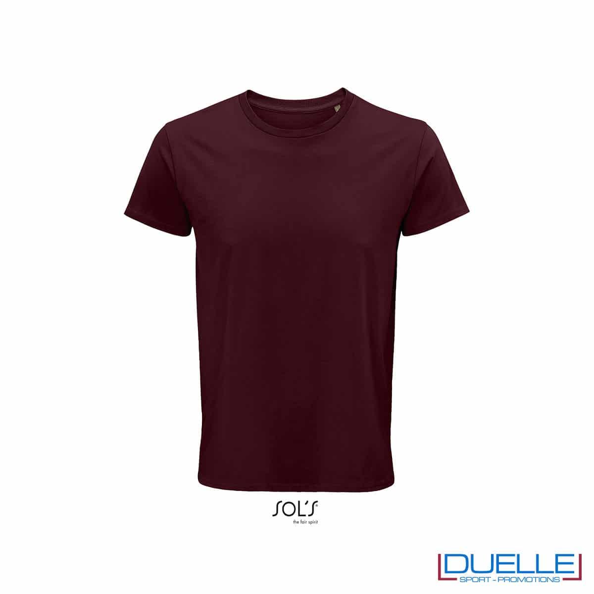 Maglietta ecosostenibile cotone biologico personalizzata colore bordeaux